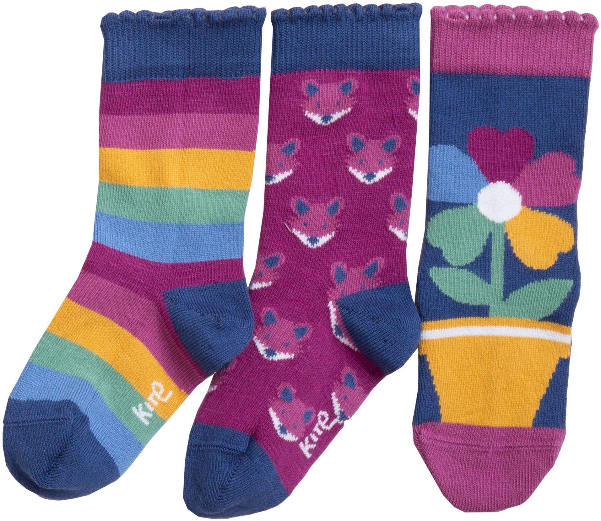 Bunt gemusterte Kinder-Socken im 3er-Pack mit Füchsen