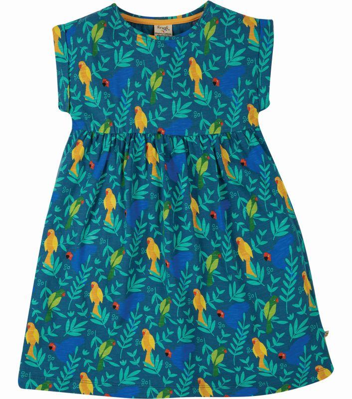 Hübsches Kurzarm-Kleid mit lustigen Vögeln
