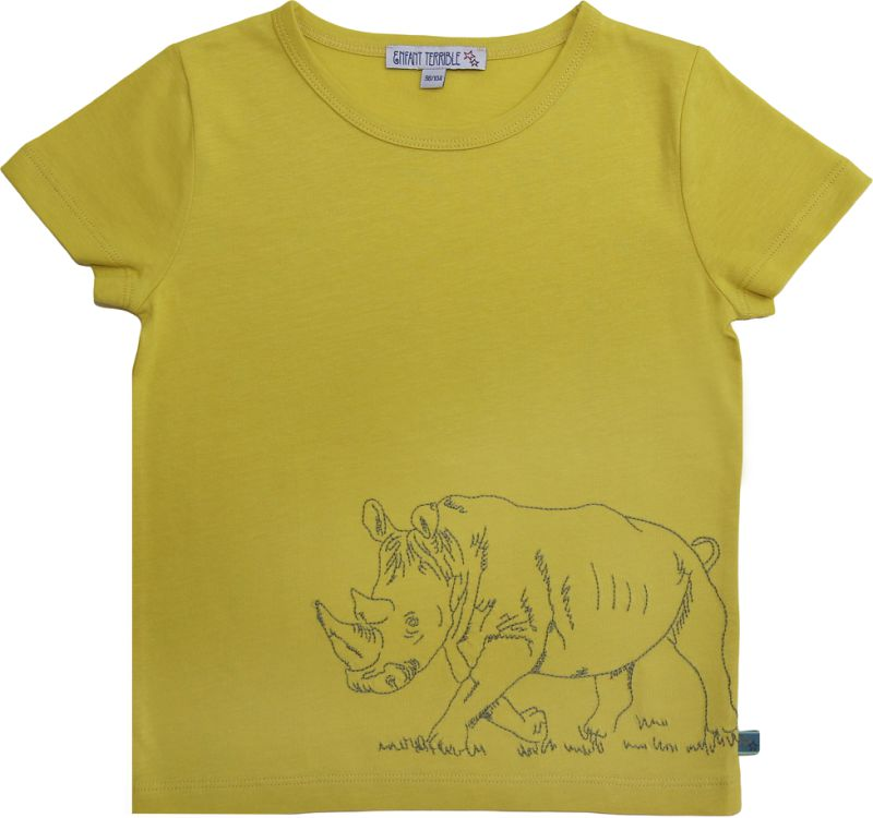 Kurzarm-Shirt mit Rhinozeros limone
