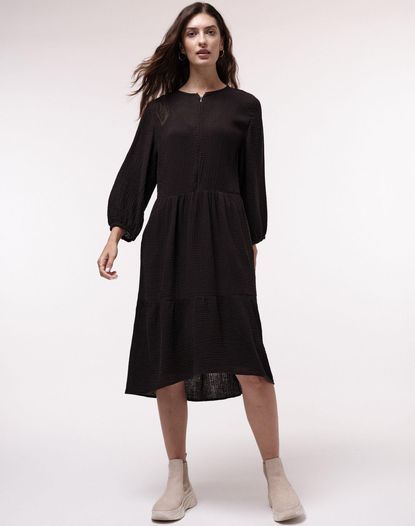 Damen-Midikleid mit Struktur black