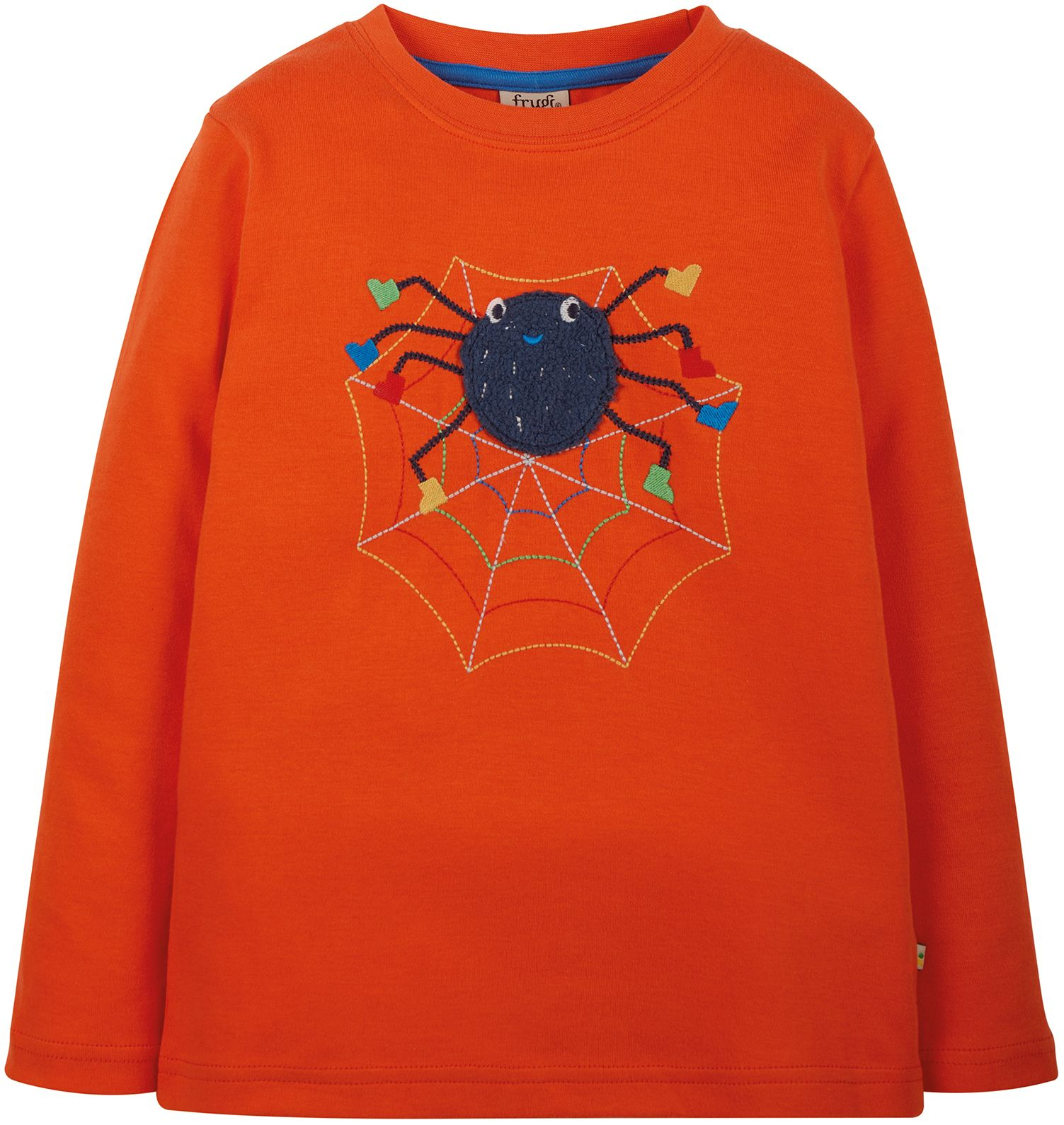 Kinder-Longsleeve mit Spinnen-Stickerei