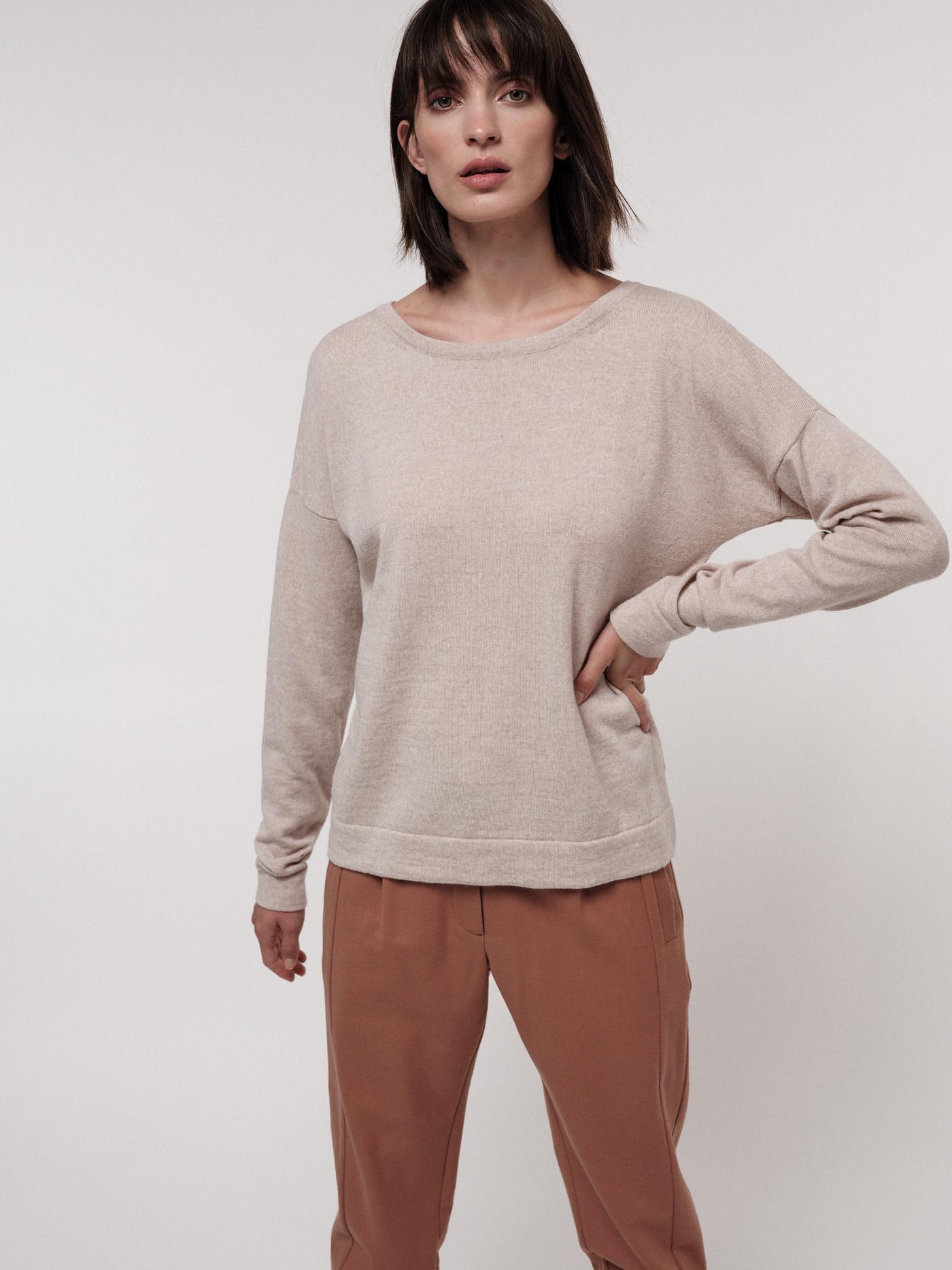 Damen-Pullover cream melange (100% Wolle)