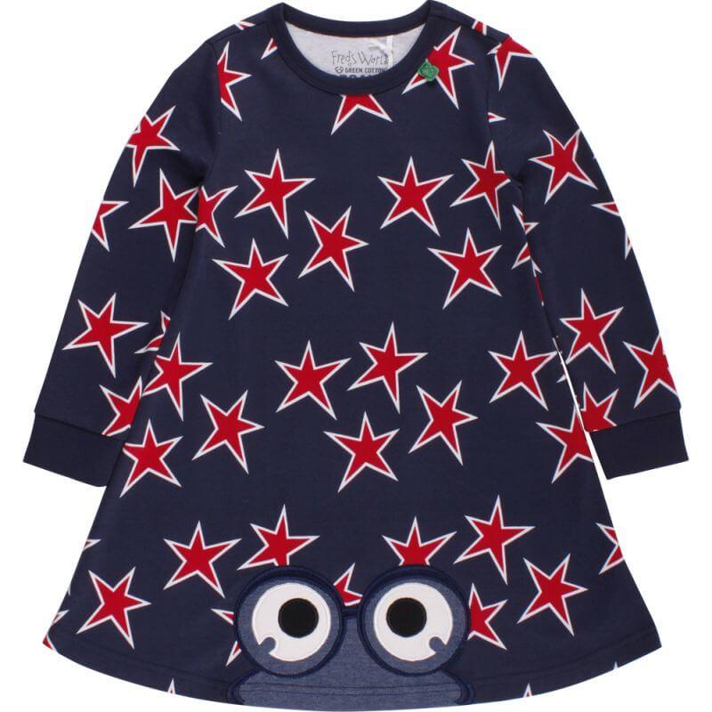 Dunkelblaues Kleid mit Sternen Star peep