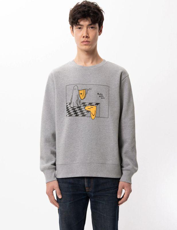 Weiches Sweatshirt Ghost Melting Smile in Greymelange