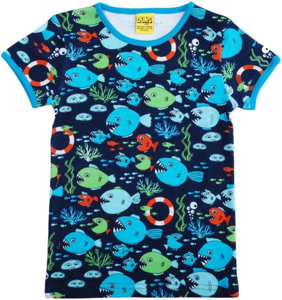 Dunkelblaues T-Shirt mit witzigen Fischen