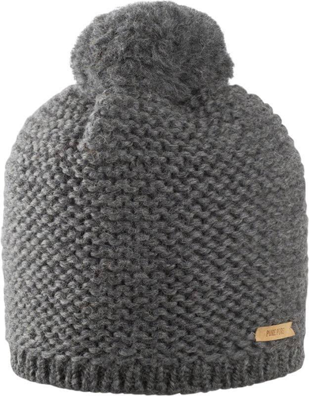 Weiche Bommel-Mütze in Dunkelgrau