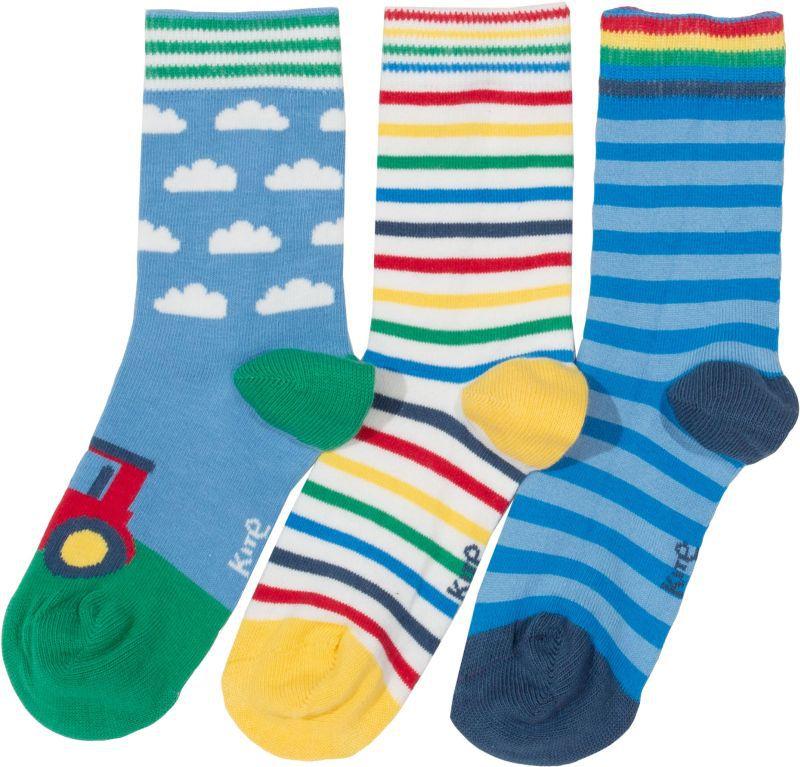 Bunte Kinder-Socken im Dreierpack mit Traktor