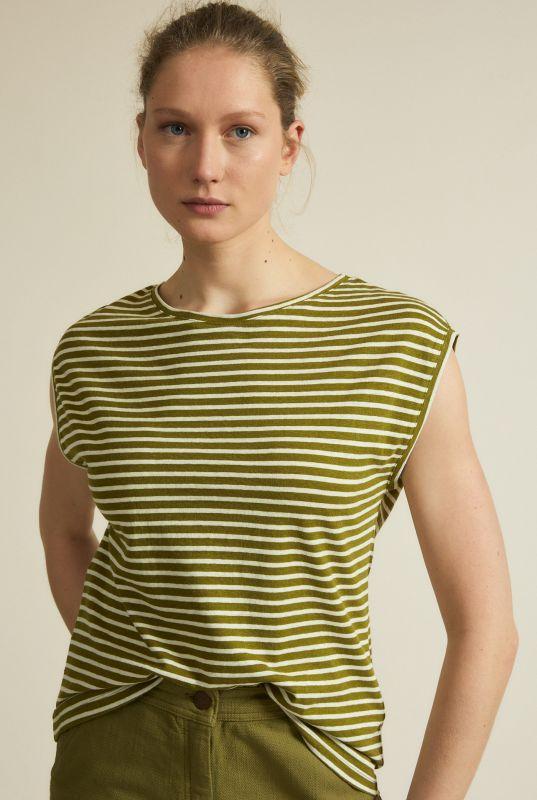 Gestreiftes Kurzarm-Shirt mit Hanf olive/off white