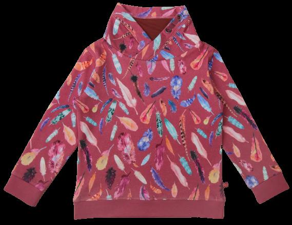 Kinder-Sweatshirt mit Federdruck erika-rosé