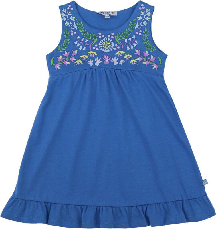 Blaues Jersey-Kleid mit Stickerei