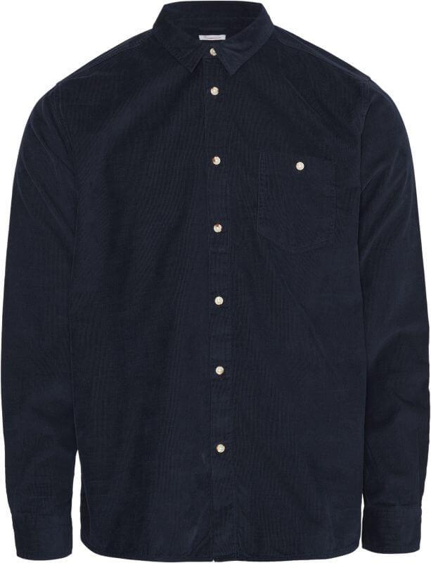 Dunkelblaues Cord-Hemd für Herren