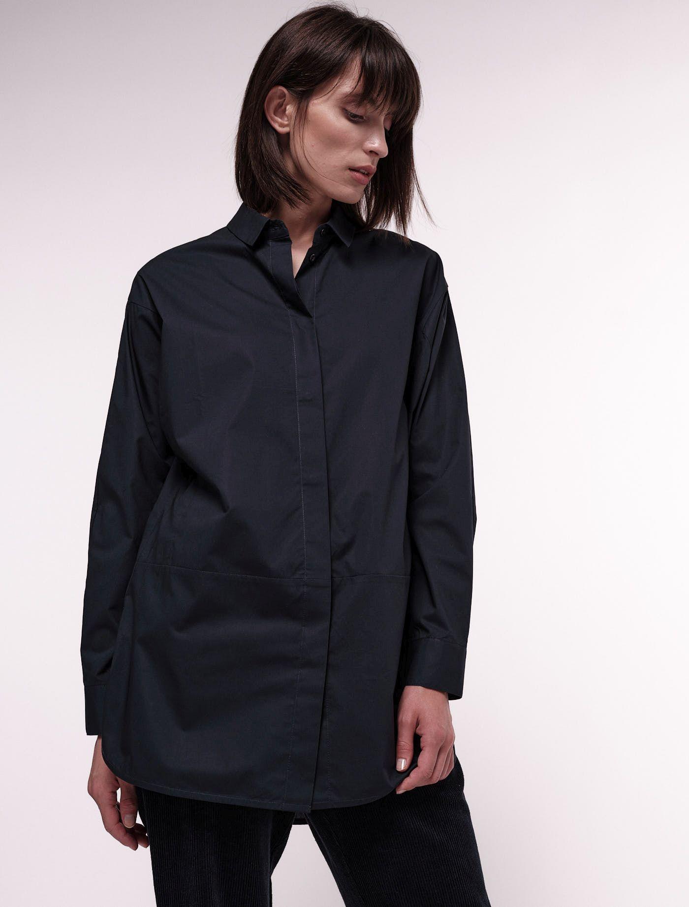 Lange Popeline-Bluse für Damen midnight