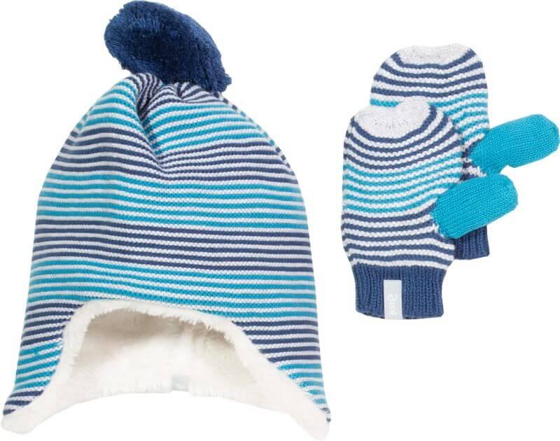 Blau gestreifte Mütze und Handschuhe im Set