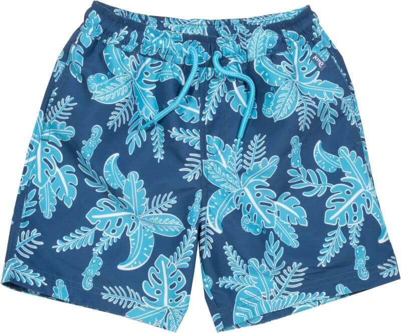 Blaue Bade-Shorts für Jungs mit Blätter-Print