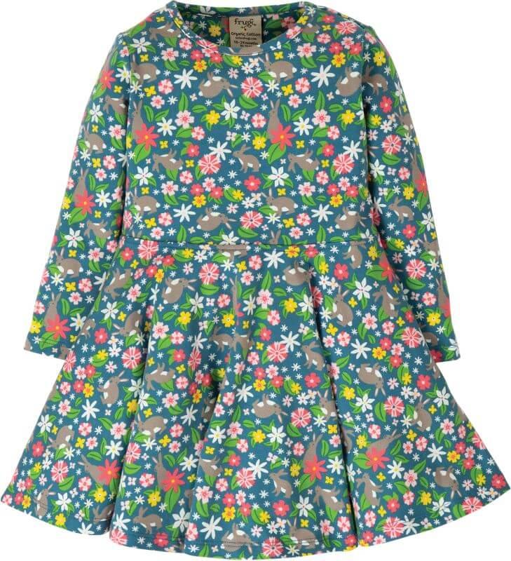 Geblümtes Langarm-Kleid mit Häschen