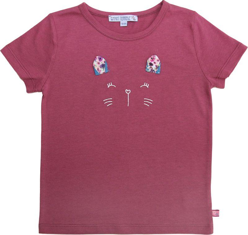 Süßes Shirt mit Katzengesicht malve