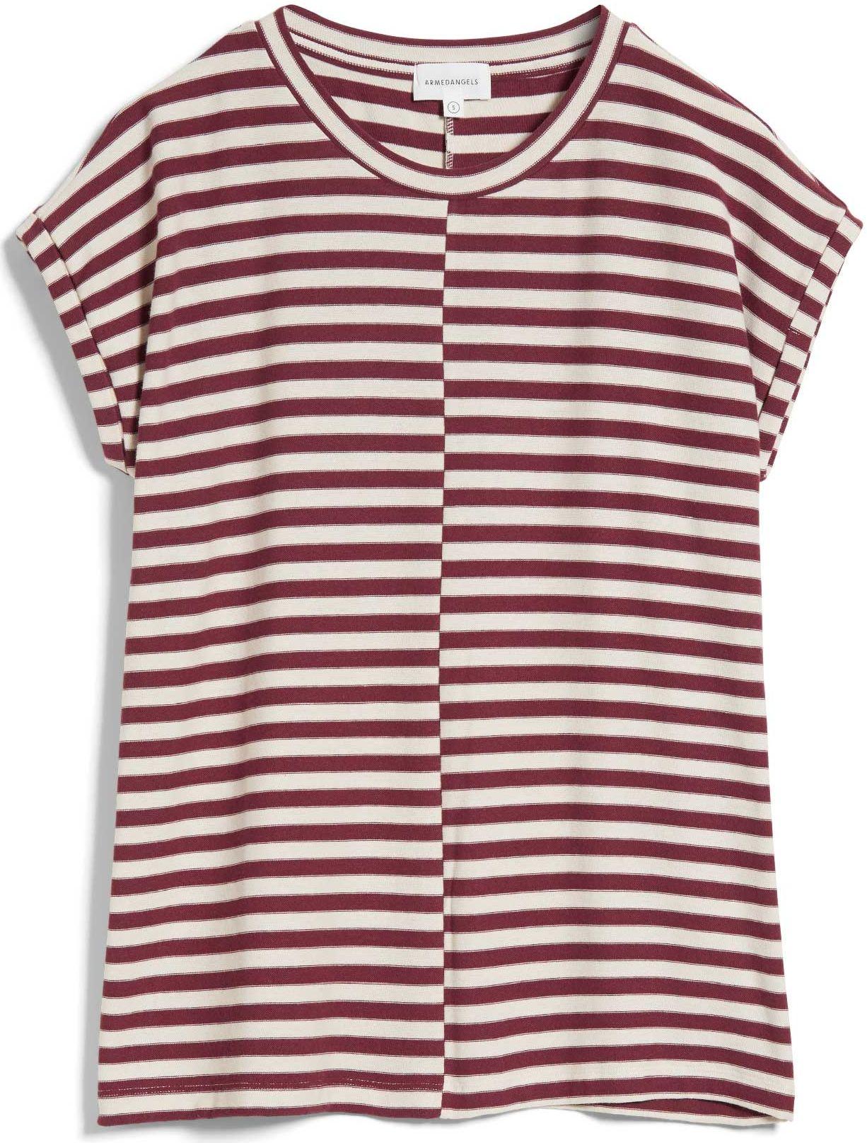 Damen-Shirt JAARIN KNITTED STRIPE kitt/ ruby red