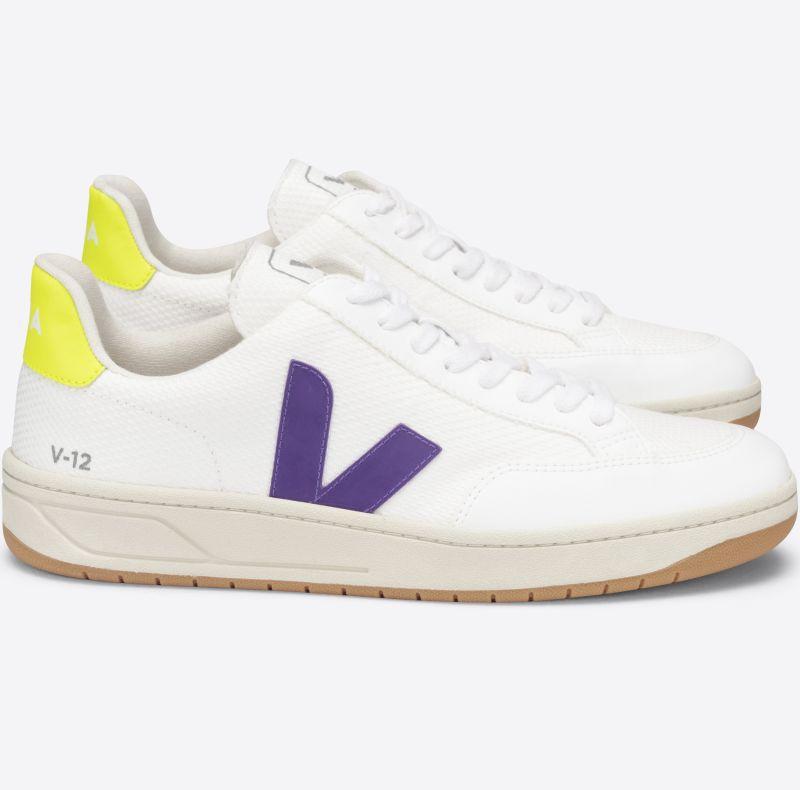 Vegane Herren-Sneaker V-12 B-Mesh White/Purple/Jaune Fluo