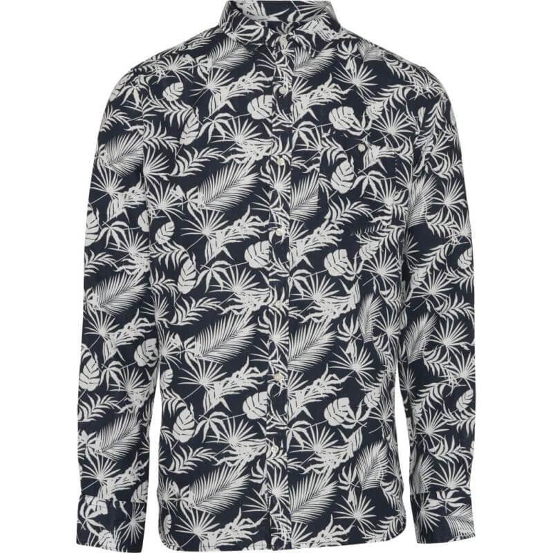 Dunkelblaues Herren-Hemd mit Blätter-Print