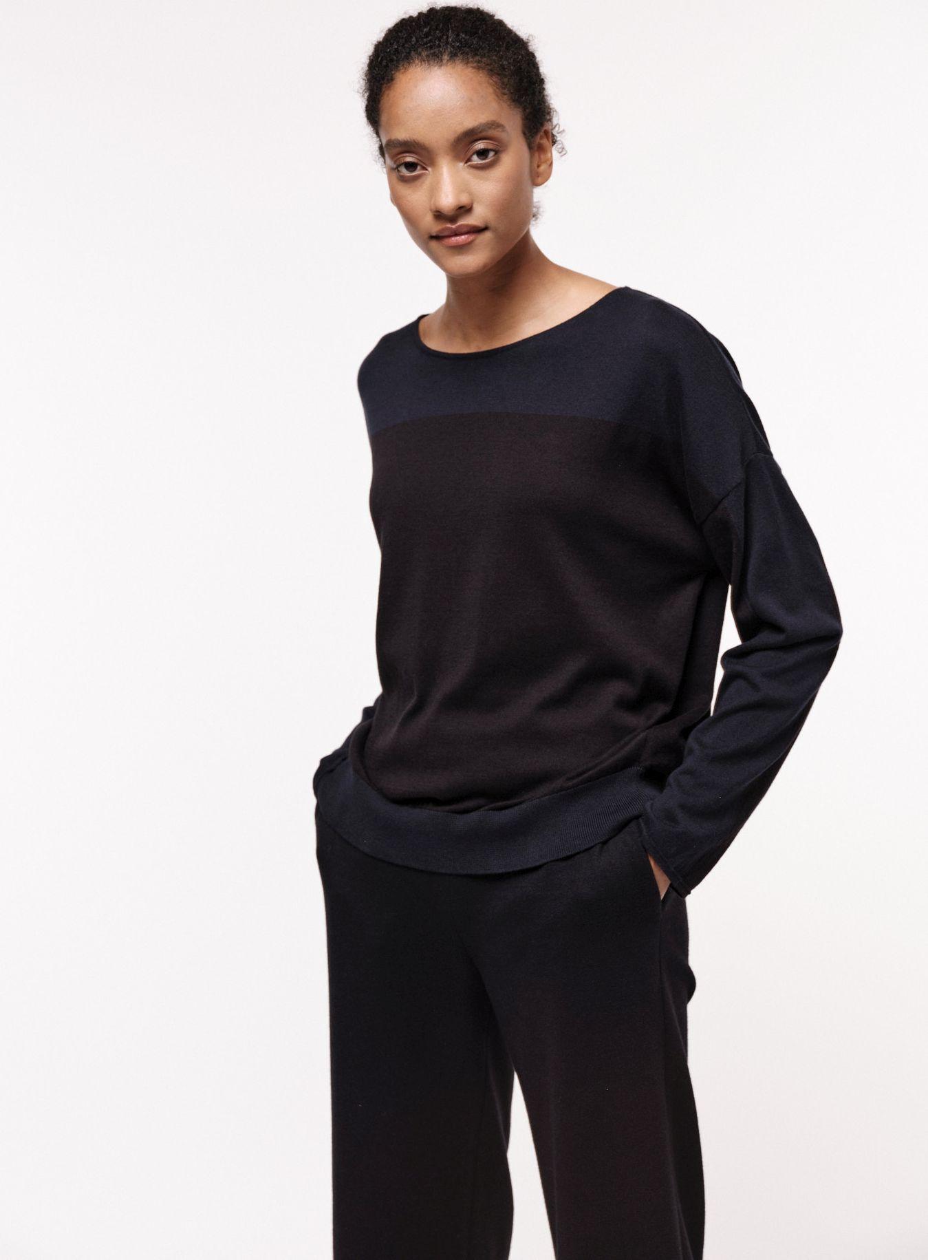 Colourblock Pullover für Damen midnight/black