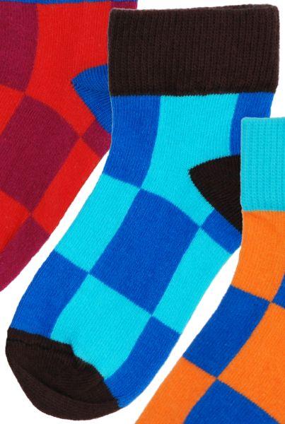 Jungs-Socken türkis-blau kariert
