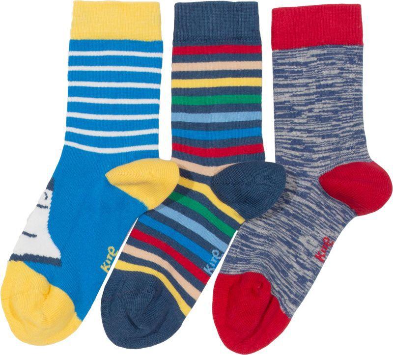 Bunte Jungs-Socken im Dreierpack mit Rakete