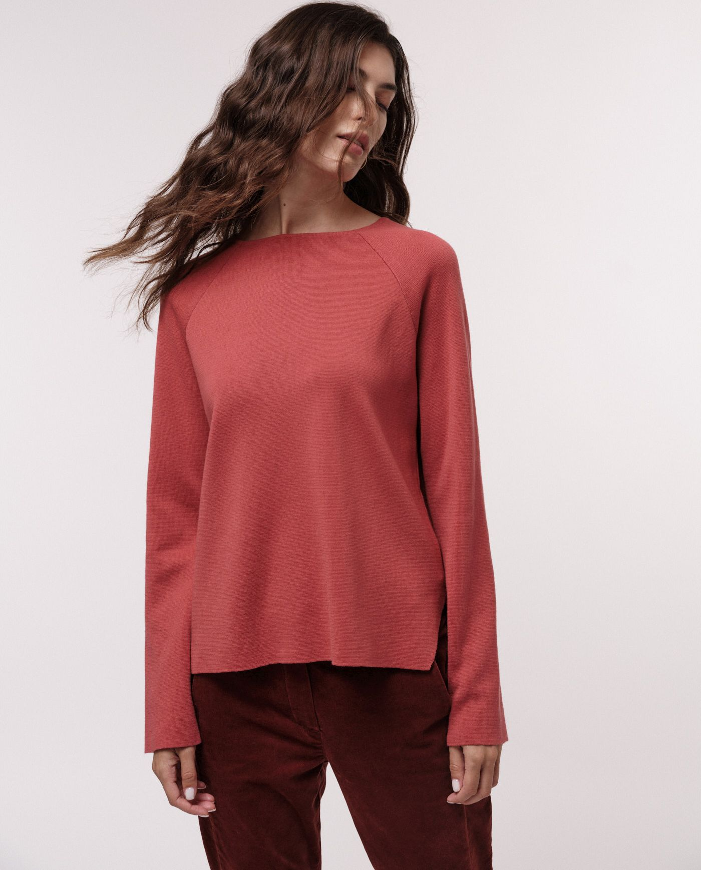 Damen-Pullover Punto Milano rosewood