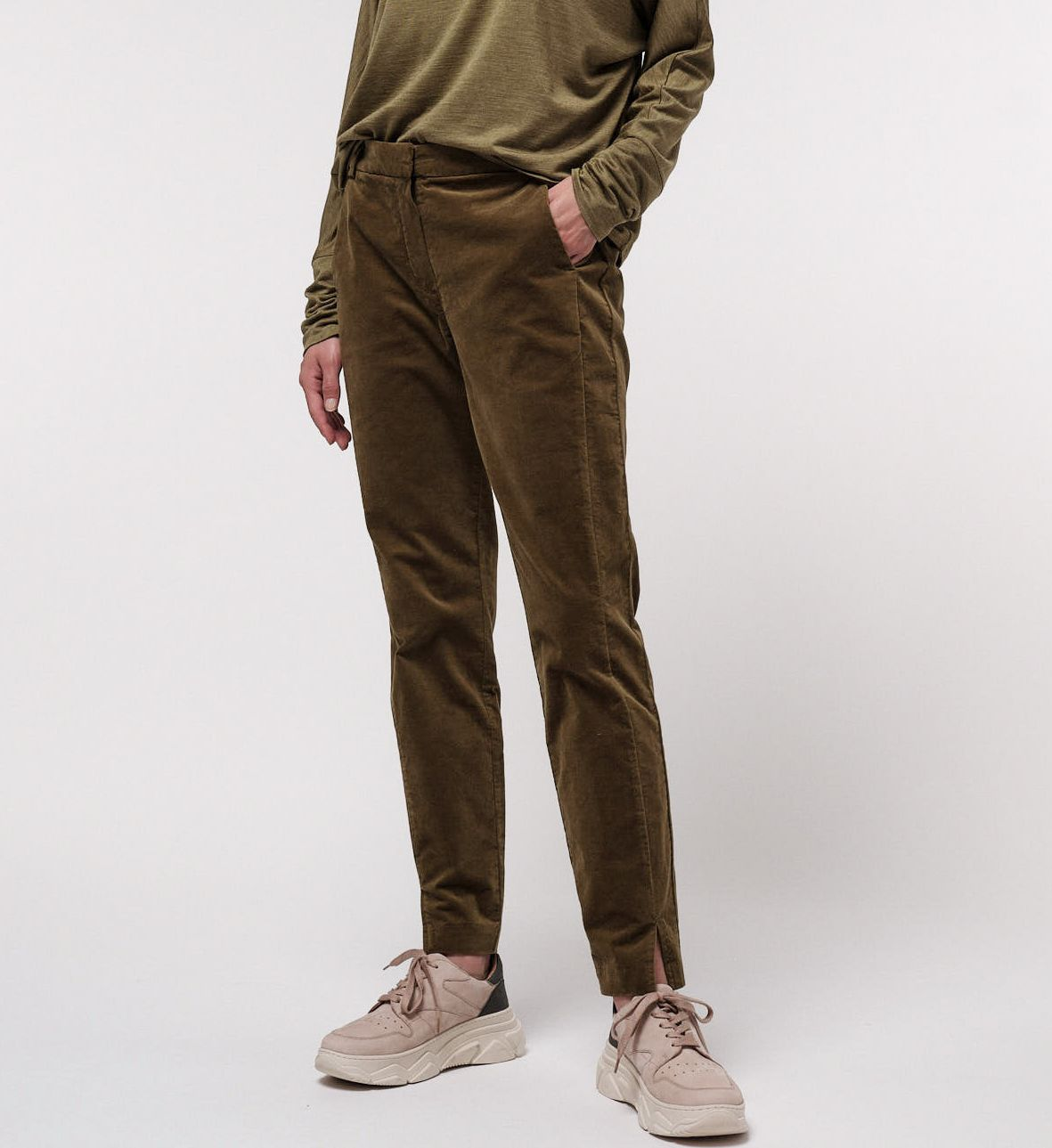 Samtige Velvet-Hose für Damen dark green moss