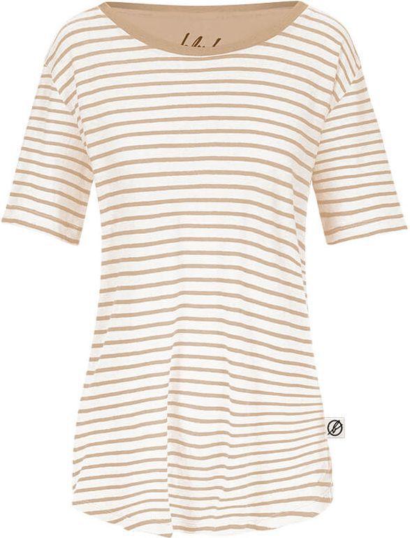 Frauen T-Shirt Striped mit Leinen in Sand