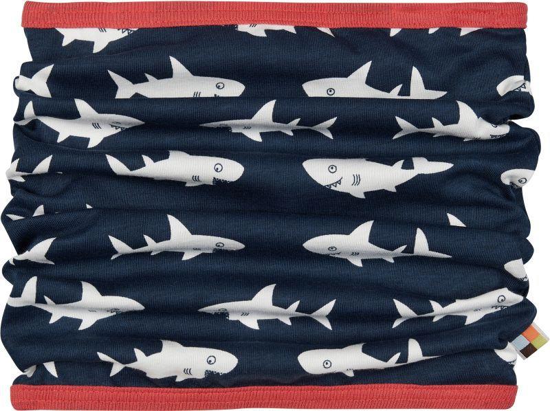 Schlauchschal mit lustigen Haien in Ultramarin
