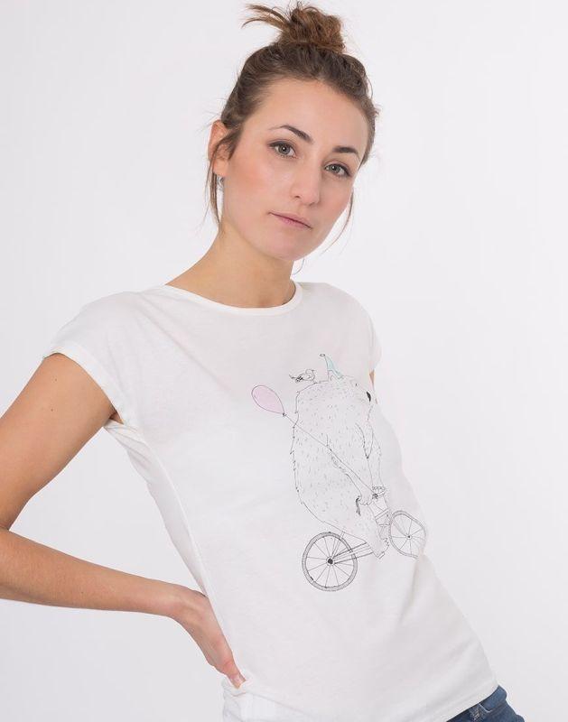 Weiches Damen-Shirt Lea Bär am Rad in Weiß