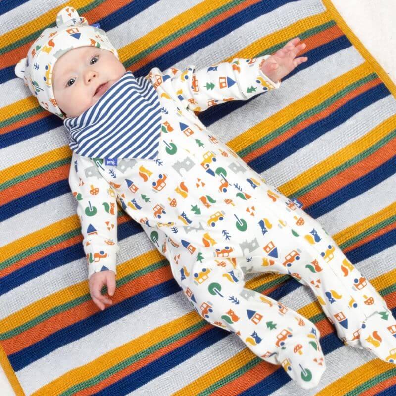 Bunt gestreifte Baby-Decke