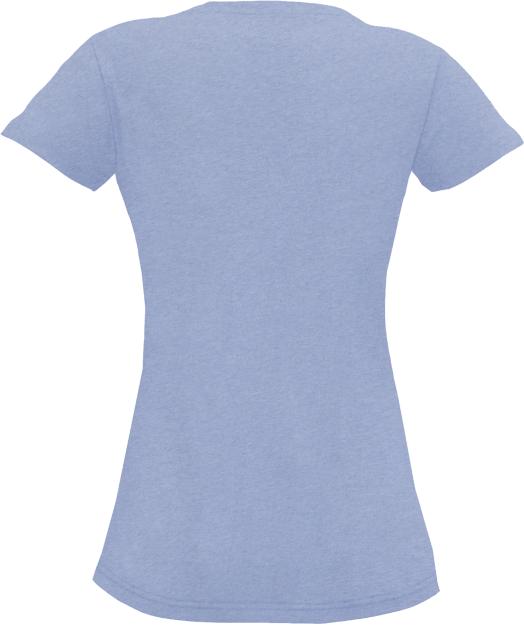 Hellblau meliertes Basic T-Shirt für Damen