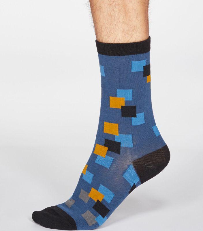 Herren-Socken Evan Square in Denim Blue