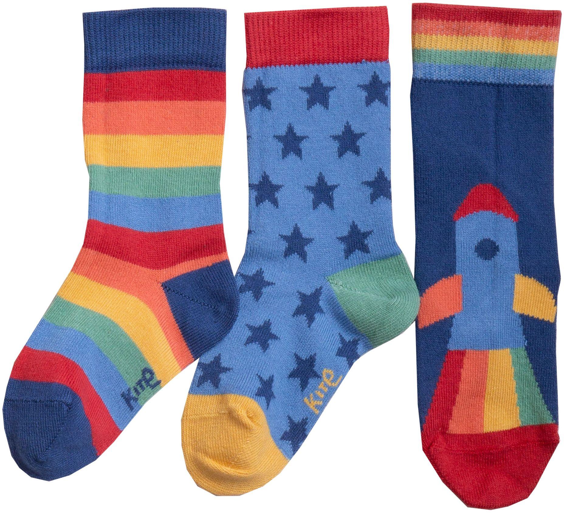 Gemusterte Kinder-Socken im 3er-Pack mit Regenbogen-Rakete