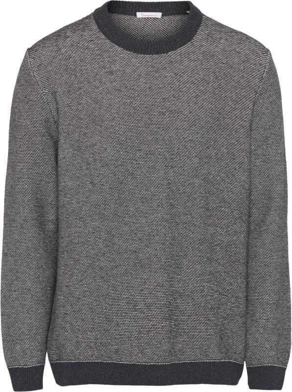 Block Striped Strickpullover aus Wolle dark grey melange