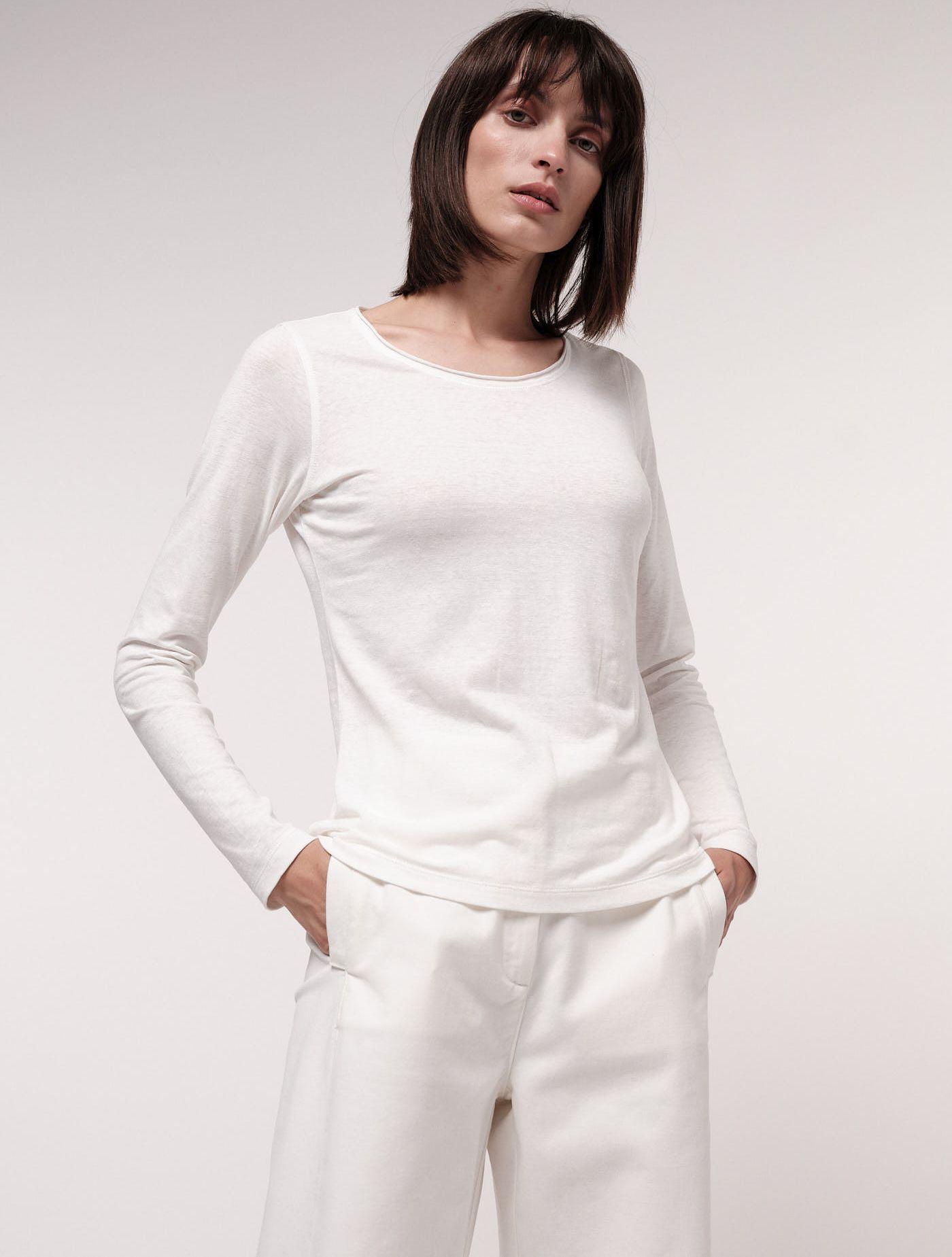 Basic-Langarmshirt für Damen natural mit Hanf