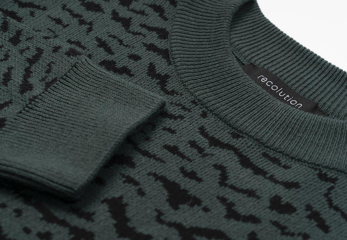 Gemusterter Damen-Pullover PEPPER forest green/ black