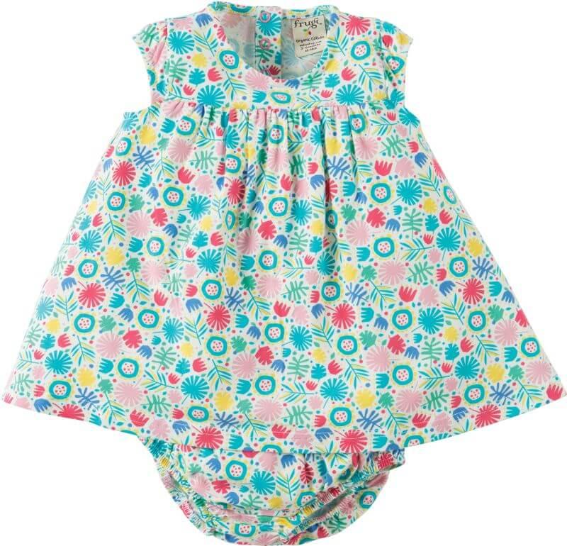 Süßes Baby-Set mit buntem Kleidchen