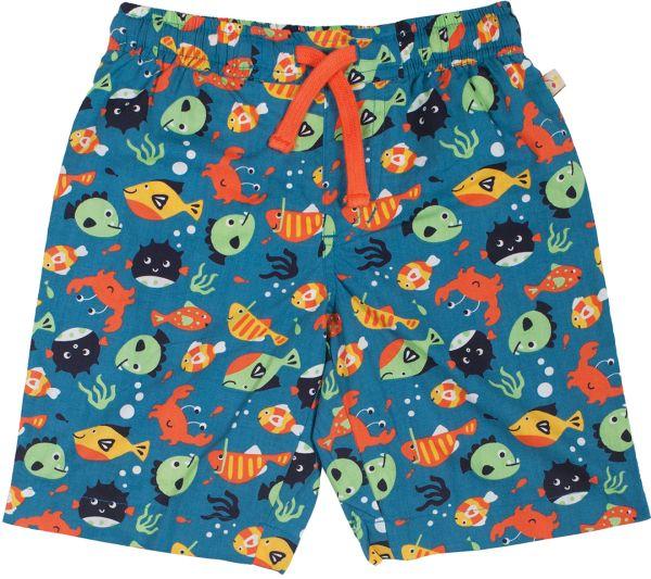 Baby-Beach-Shorts blau mit Fischen