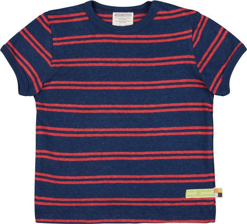 Gestreiftes T-Shirt mit Leinen in Ultramarin