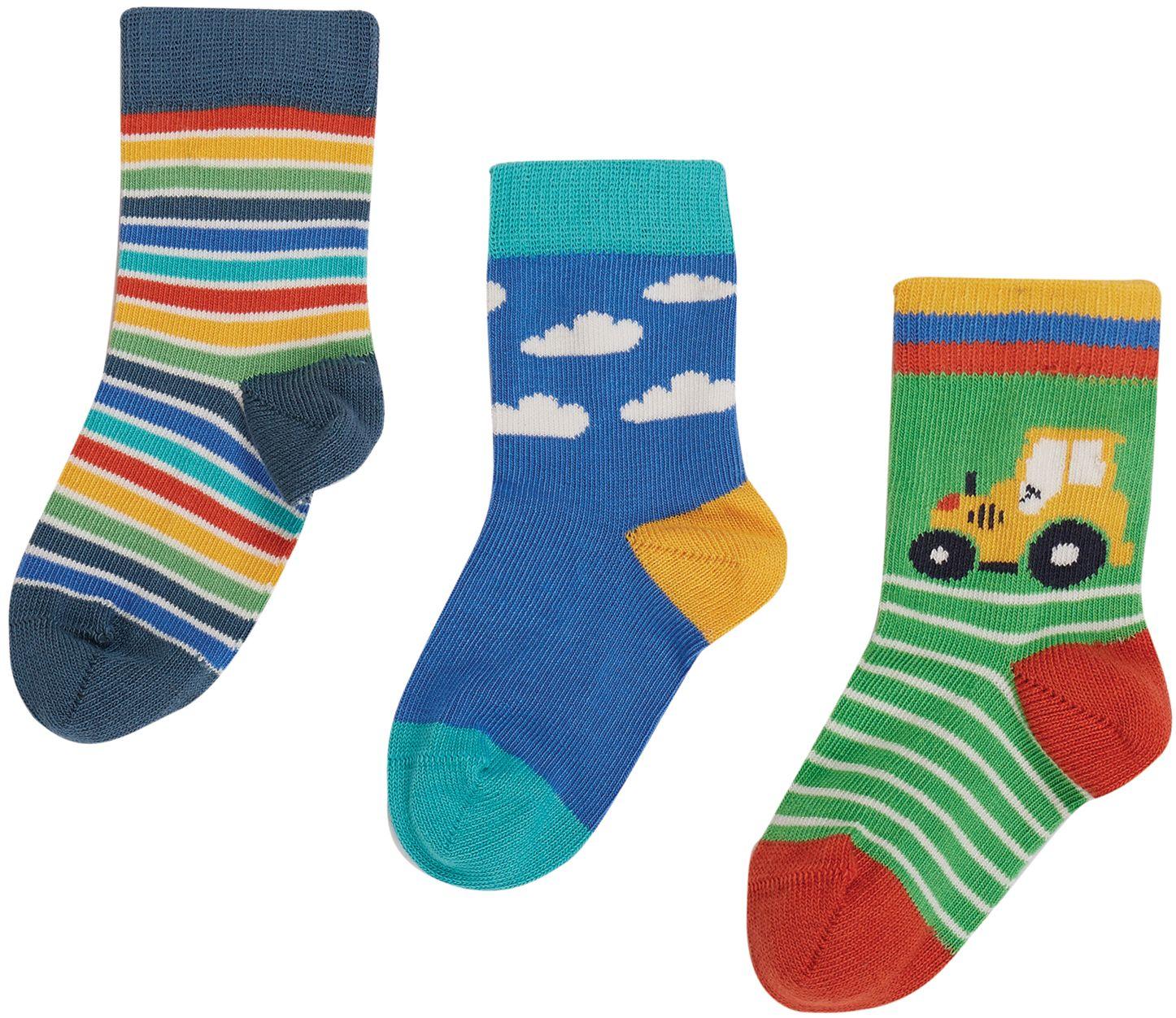 Gemusterte Kinder-Socken im 3er-Pack mit Traktor