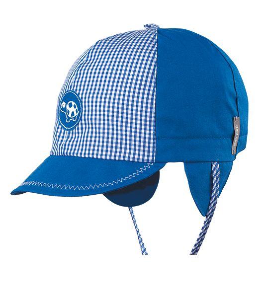 Blau karierte Mütze mit Ohrenschutz
