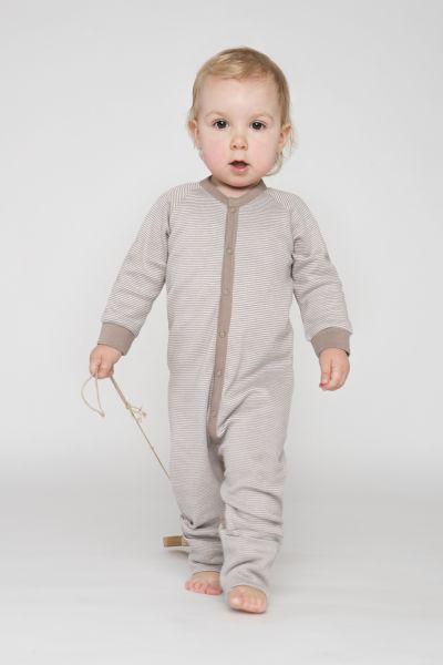 Einteiliger Schlafanzug beige/weiß gestreift