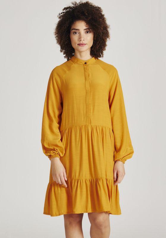 Seidiges Langarm-Kleid Lendra Pecan