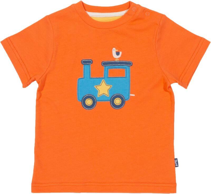 Baby-Shirt mit Zug in Orange
