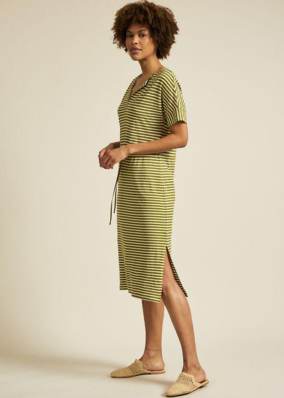Gestreiftes Sommer-Kleid mit Hanf in olive/off white