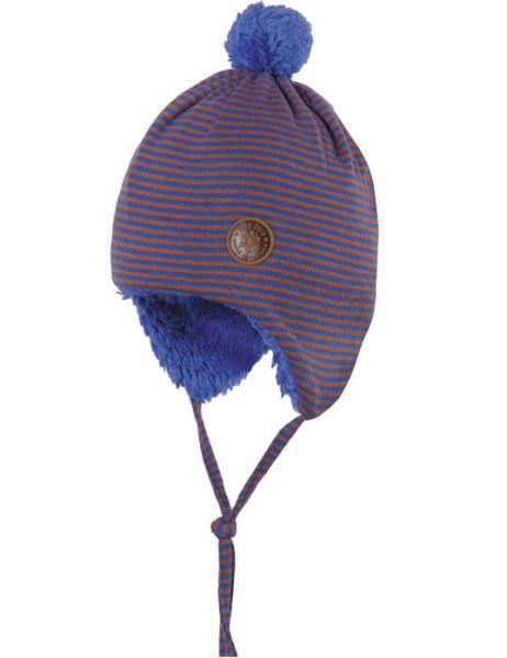 Blau geringelte Mütze mit Plüsch-Futter