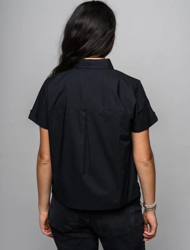 Schwarze Kurzarm-Bluse für Damen
