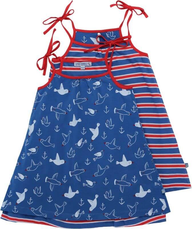 Süßes Wende-Kleid mit Möwen-Druck in Blau